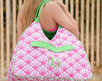 The Shelly Beach Bag - PERSONALIZED - Sea Shell Hot Pink Tote Bag