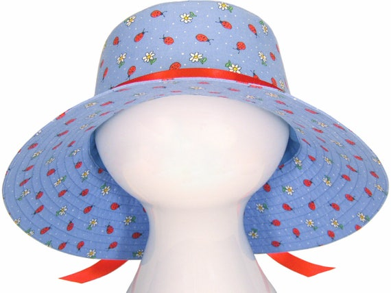 Ladybug Blue - Ladies Wide Brim Floppy Sun Hat - Red Lady Bugs and White Daisies on Chambray Cornflower Medium Blue Cute Hat by Calico Caps