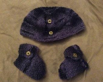 Handsome Dark Purple Baby Cap and Booties