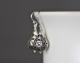Bali Silver Earrings - Filigree Silver Earrings - Boho Earrings - Silver Dangle Earrings - Wire Wrapped Earrings - Jewelry Gift for Her