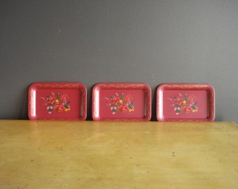 Red Mini Floral Trays - Vintage Metal Trays - Metal Coasters or Organizing Trays