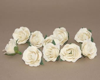 10 Cream Tea Roses - Artificial Flowers, Silk Flower Heads