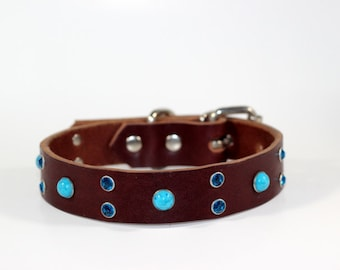 """Crystal Leather Dog Collar - Leather Turquoise Collar - 1"""" Brown Leather Dog Collar, Crystal Leather Dog Collar - Ready To Ship"""