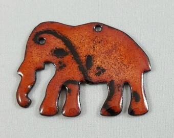 Enameled Copper Elephant Pendant