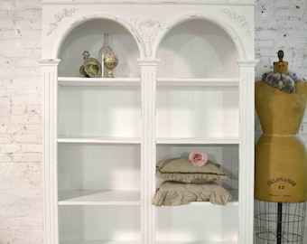 Painted Cottage Chic Shabby  Farmhouse Bookcase / China Cabinet / Linen Cabinet