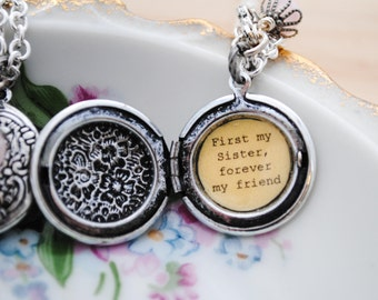 First my sister, forever my friend - sister necklace - sister locket - quote locket - sister gift