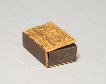 Vintage Wind Up Mechanism in Matchbox / Mini Mechanical Movement Wood Veneer Match Box for Parts Restoration Steampunk Altered Art Destash