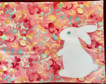 Pink Bunny Placemats, White Rabbit Applique, Quilted, Spring Springtime Colors, Blue Yellow, Green Polkadot Backs.