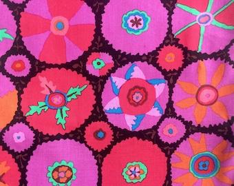 Kaffe Fassett Suzani, purple, OOP, rare, by the half yard, circle fabric, black magenta