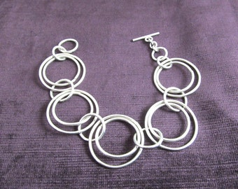 Double Ring Silver Circle Bracelet
