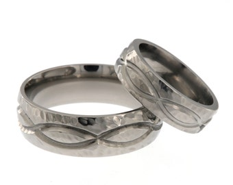 New Infinity His and Hers Set Titanium Wedding Rings - Matching Set: 8HR.6HR-INFINITY-T8-HB
