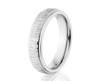 Cobalt Chrome Rings, Cobalt Wedding Bands, 5mm Cobalt Ring: CB-5HRRC-TB
