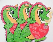 Dragon Valentine - Set Of 3 - Gift Tags - Green Dragon - 1950's Valentine - Fantasy Tag - Kitschy Dragon - Treat Bag Toppers