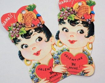 Hawaiian Girl - Valentine Tags - Set of 3 - Fruit Hat - Vintage Valentine - Flower Lei - Beautiful Hawaiian - Kitsch Tags - 1950's Valentine