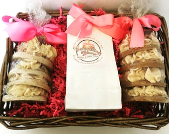 Scented Candle Basket in Cookie Tower Pillar Candles - Wax Melt and Candle Basket