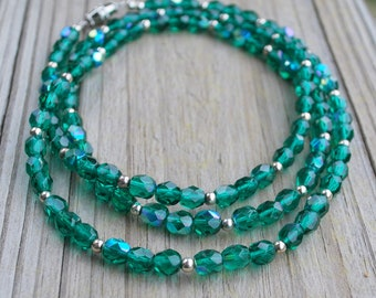 Silver Green Necklace Crystal Faceted Beads Extra Long Mother's Day Birthday Christmas Anniversary Wife Mother Daughter Sister Ready To Ship