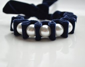 Navy Velvet Ribbon Bracelet. Pearl Bracelets. Harper Velvet Statement Bracelet. Christmas Gift. New Years Eve. Winter Fashion. Pearls. Cuff.