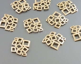 4 small matte rose gold abstract multi-square pendants, geometric jewelry pendants, abstract jewelry 1483-MRG-SM