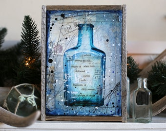 "Message In A Bottle No. 17 - 6.5"" x 8.5"" original framed mixed media painting on canvas"