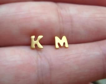 ONE solid gold Initial Earring Initial stud Single Monogram Jewelry Extra Tiny Personalized Earring Alphabet Stud Gold Personalized gift 18k