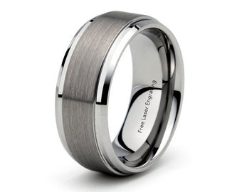 mens tungsten carbide wedding band brushed polished stepped beveled edge 9mm mens wedding band wedding ring - Tungsten Mens Wedding Rings