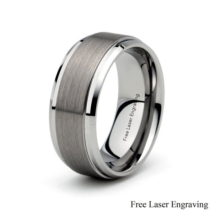 Mens Tungsten Carbide Wedding Band Brushed Polished stepped