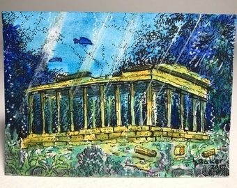 Atlantis, original pen and watercolour painting on Artist Trading Card (ATC)