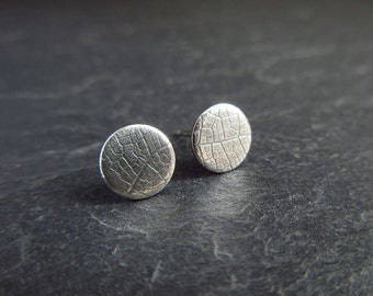 Sterling silver stud earrings, silver studs, leaf vein texture, oxidized patina, discs, metalwork earrings, post fittings, jewelry for women