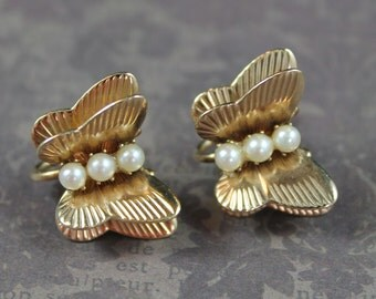 Vintage AMCO 14K Gold Filled Pearl Butterfly Screw Back Earrings Set