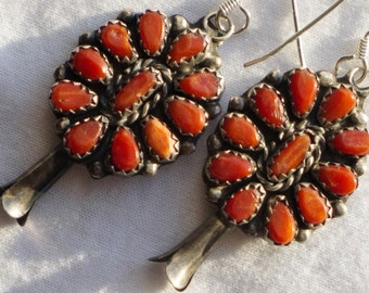 Zuni Sterling Silver Petit Point Coral Squash Blossom Cluster Earrings
