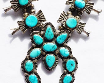 Navajo Sterling Silver Turquoise Box Bow Squash Blossom Necklace -- Eugene Hale