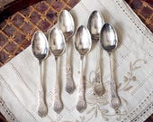 English Demitasse Spoons 1940s TT&C Etched Silverplate Flatware Set of Six