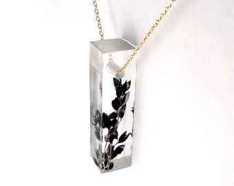 "Resin Bar Necklace with Black Sorghum - 2"".  Resin Jewelry with Real Pressed Flowers - Resin Jewelry.  Handmade Jewelry. Sterling.  Gold."