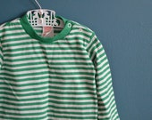 Vintage 1980s Green and White Striped Ringer Shirt - Size 18-24 Months