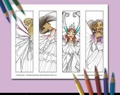 Coloring Bookmarks, Printable Bookmarks, Fairy Coloring Pages, Adult Coloring, Coloring Pictures, Fantasy Coloring Pages, Fantasy Bookmark
