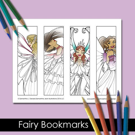 Coloring Bookmarks Printable Bookmarks Fairy Coloring Pages
