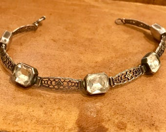 Beautiful Art Deco Sterling Silver Crystal Ornate Vintage Art Deco Bracelet