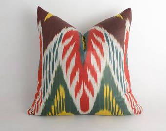 15x15 red green brown ikat pillow cover, decorative ikat cushion interior decor. uzbekistan ikats. cotton ikat