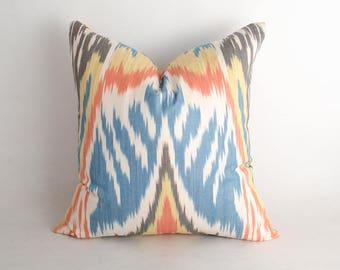 15x15 gorgeous ikat pillow cover, blue cream orange pillow cushion case. uzbekistan ikat, decorative pillow