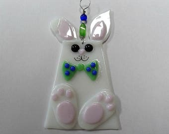 White bunny suncatcher , ornament, fused glass, Easter decor