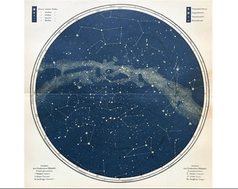 1903 NORTHERN HEMISPHERE STARS lithograph - original antique print - celestial astronomy starry sky - star chart of the north - milky way