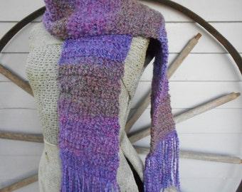 The Lavender Harvest Handmade Crochet Boho Fringe Scarf. Super Soft Boucle Fall & Winter Neck Wrap. Lilac Light Purple Earthy Copper multi
