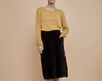 NEW! Mustard extra long sleeves t-shirt - knitted white t-shirt - long fit t-shirt - cotton shirt