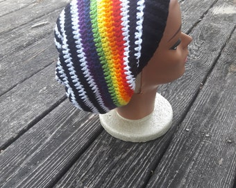black and white Rainbow hippie slouch beanie hat