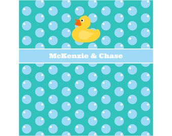RUBBER DUCKY BUBBLES Personalized Kids' Shower Curtain - Kids' Bathroom Decor; Kids' Shower Curtain