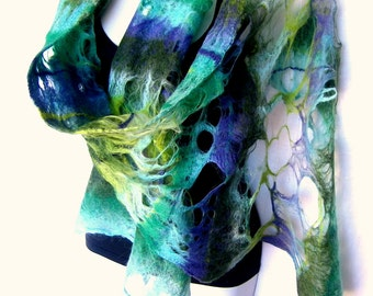Felted Scarf, Cobweb, Lacy Merino Wool, Blue Green Felted Scarf, Gift For Her
