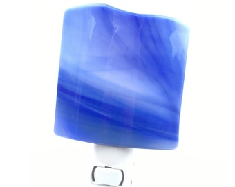 Night Light, Blue Shaded Art Glass Shade, Home Decor