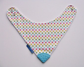 Baby Bandana Bib With  Sewn on Food Safe  Silicone Teether Corner, Rainbow Dots Reversible  Minky Lined