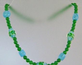 CHRISTMAS SALE Vintage Art Glass Necklace Green and Aqua Blue Glass Beads