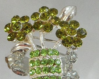 ON SALE Vintage Green Rhinestone Flower Brooch. Olivine Green Peridot Rhinestones. Flower Basket.